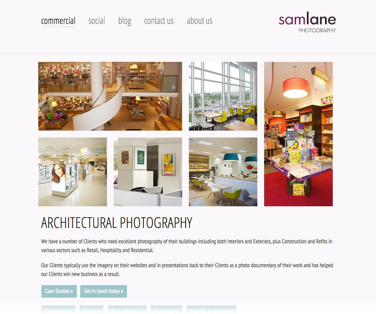 Sam Lane Photography Website 3