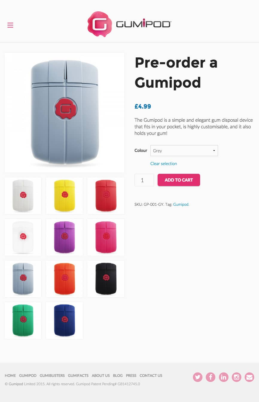 Gumipod Shop Page